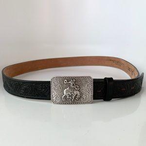 Justin western belt rodeo buckle Sz 46